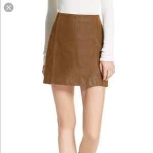 Free People Faux Olive Leather Skirt